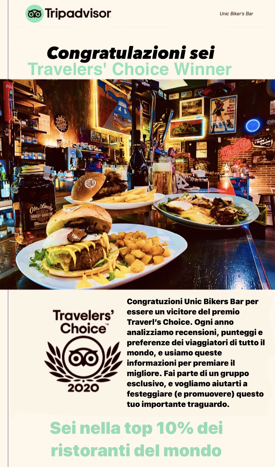 Trip Advisor - Travellers Choice Award 2020 - Unic Bikers Bar